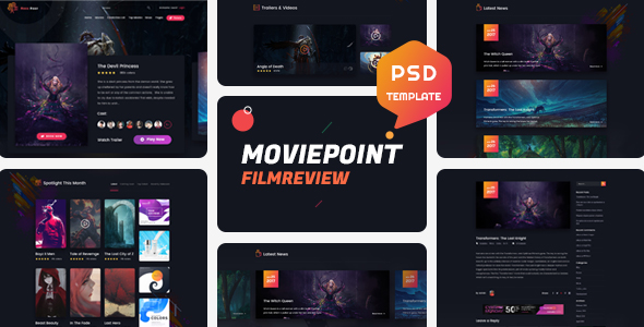 Movie Point - One Page Psd Template by theme-rocket ThemeForest