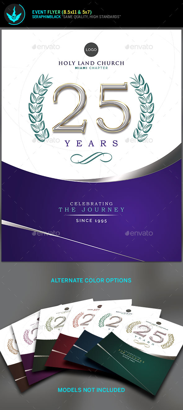 Regal Purple and Silver Church Anniversary Flyer Template by - anniversary flyer