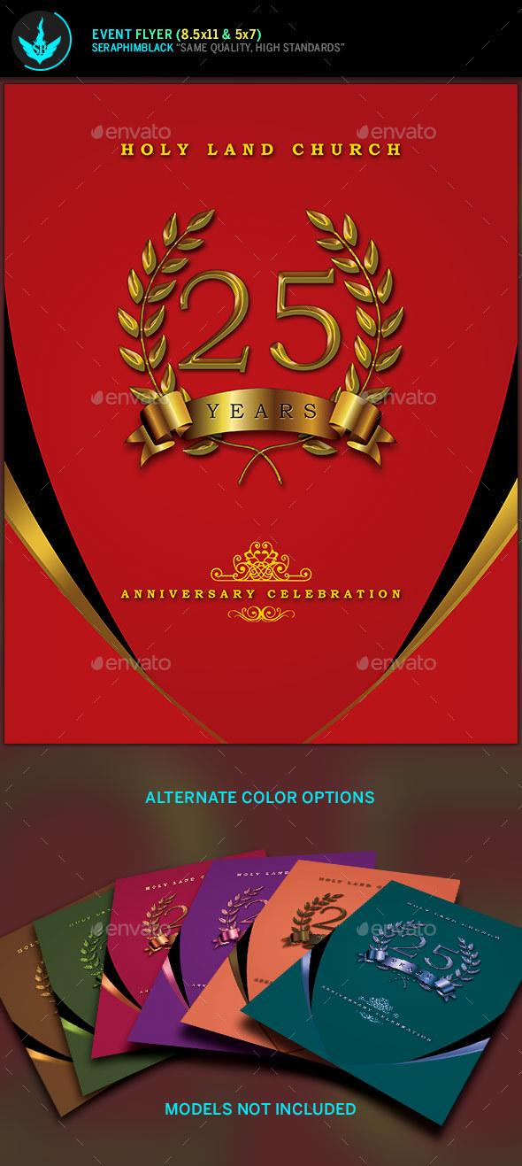 Crimson Gold plus Black Anniversary Flyer Template by SeraphimBlack - anniversary flyer