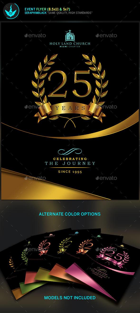 Gold Black plus Teal Anniversary Flyer Template by SeraphimBlack - anniversary flyer