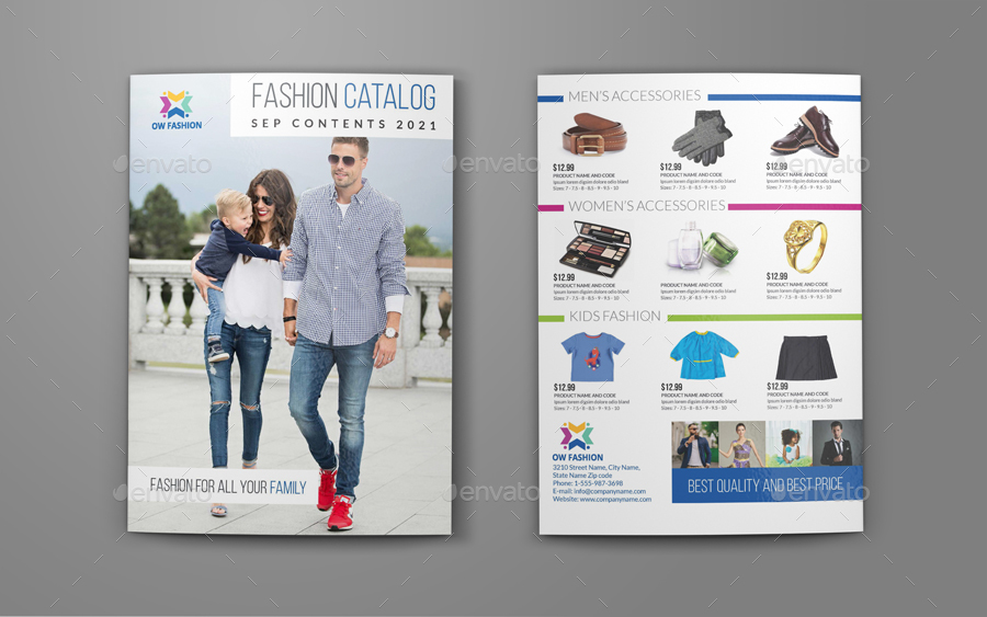 Fashion Catalog Bi-Fold Brochure Template by OWPictures GraphicRiver - fashion design brochure template