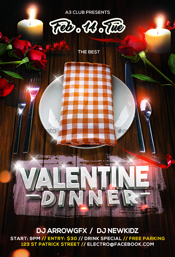 Valentine\u0027s Dinner Flyer by Arrow3000 GraphicRiver - Dinner Flyer