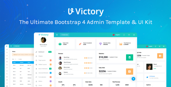 Victory Bootstrap 4 Admin Template by urbanui ThemeForest