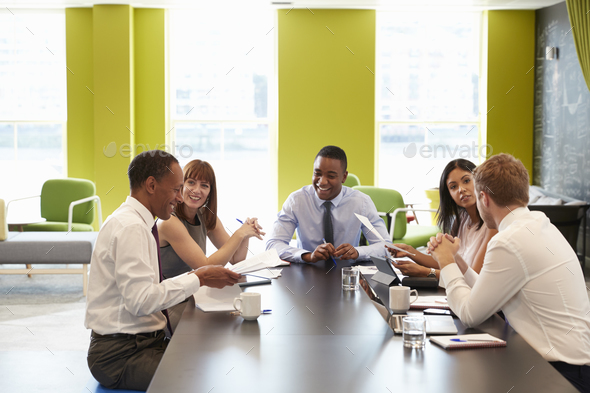 Business colleagues having an informal meeting at work Stock Photo
