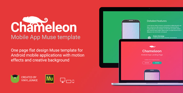 Chameleon - Android App Promo Site Muse Template by vinyljunkie - android template