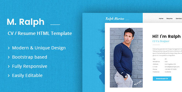HTML Online CV  Resume Templates from ThemeForest - resume website template