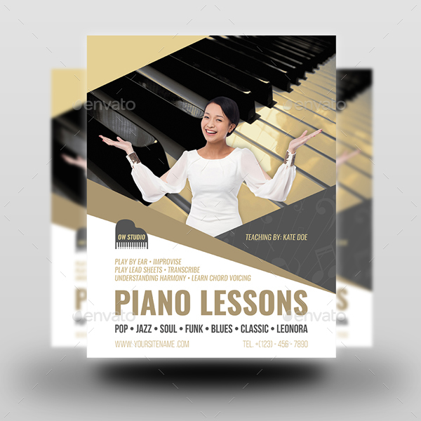 Piano Lessons Flyer Template by OWPictures GraphicRiver