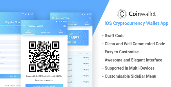 CoinWallet - iOS Cryptocurrency Wallet Template by itechtheme - wallet template