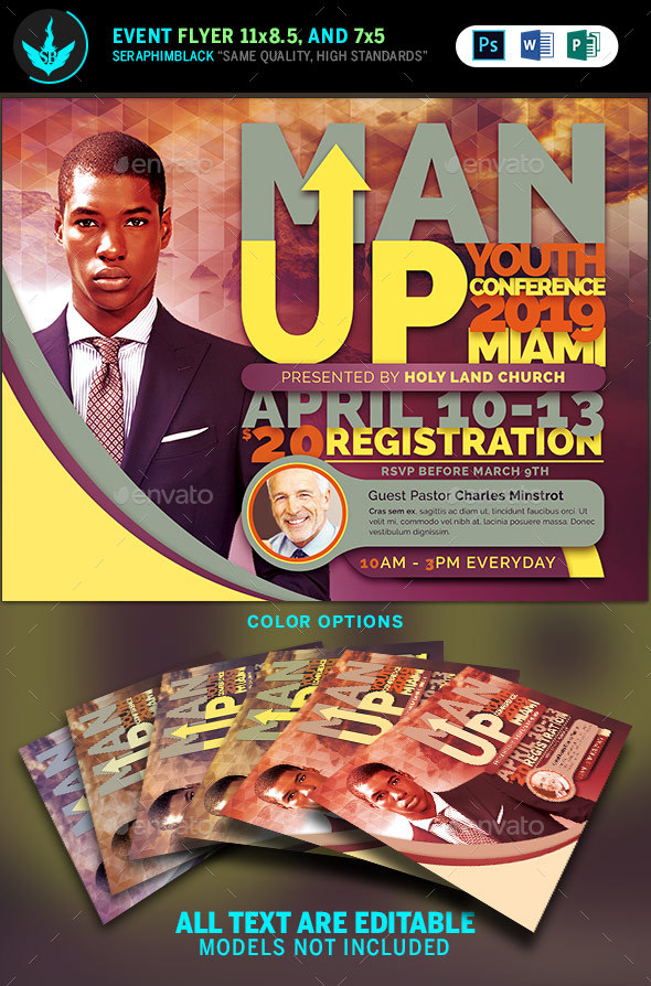 Man Up Church Conference Flyer Template by SeraphimBlack GraphicRiver