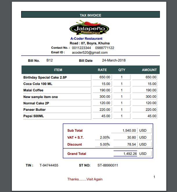 Restaurant Easy Invoice Billing System by a-coder CodeCanyon - invoice billing