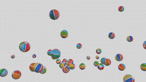 Beach Balls Falling to Transparent Background by Handrox-G VideoHive