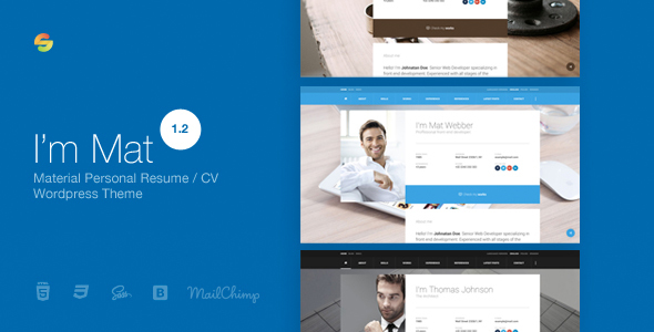 I am Mat - Material Personal Resume / CV vCard WordPress Theme by - resume wordpress theme