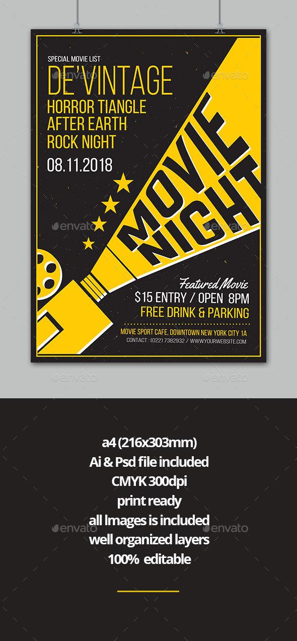 Movie Night Flyer by vectori GraphicRiver - movie night flyer template
