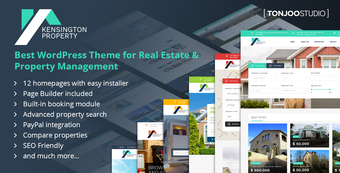 Kensington - Real Estate and Property Management WordPress Theme by - property management websites templates