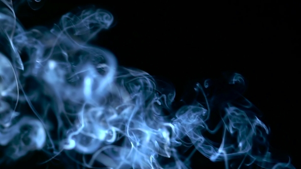 Blue Smoke Rising Over Black Background by KinoMaster VideoHive