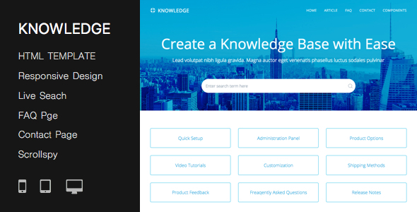 Responsive Knowledge Base  FAQ HTML Template by PressApps ThemeForest