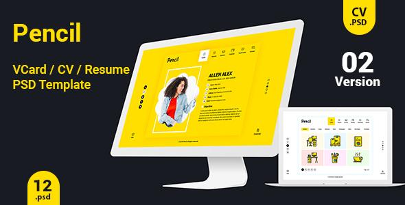 Virtual Business Card CV Resume PSD Template by createuiux ThemeForest - business card resume