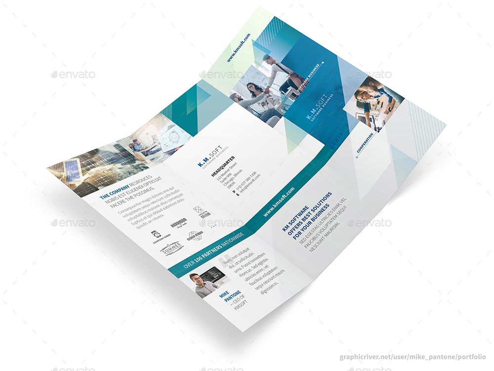 IT \u2013 Software Company Trifold Brochure by Mike_pantone GraphicRiver