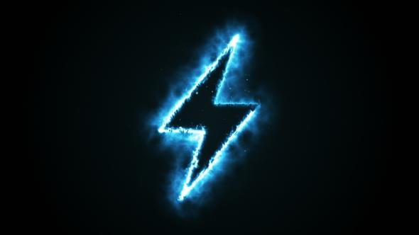Burning Blue Flame Lightning Shape on Black Background by FlashMovie