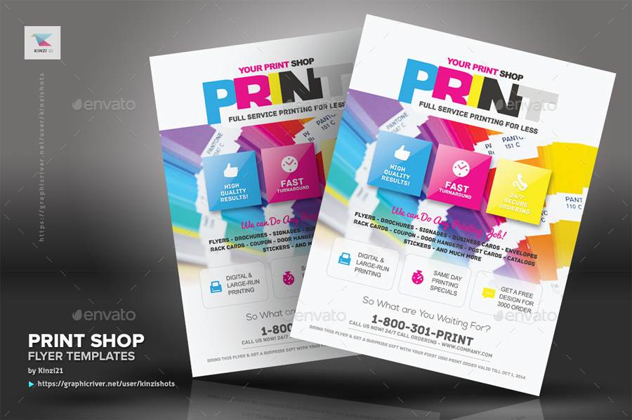 Print Shop Flyer Template by kinzishots GraphicRiver