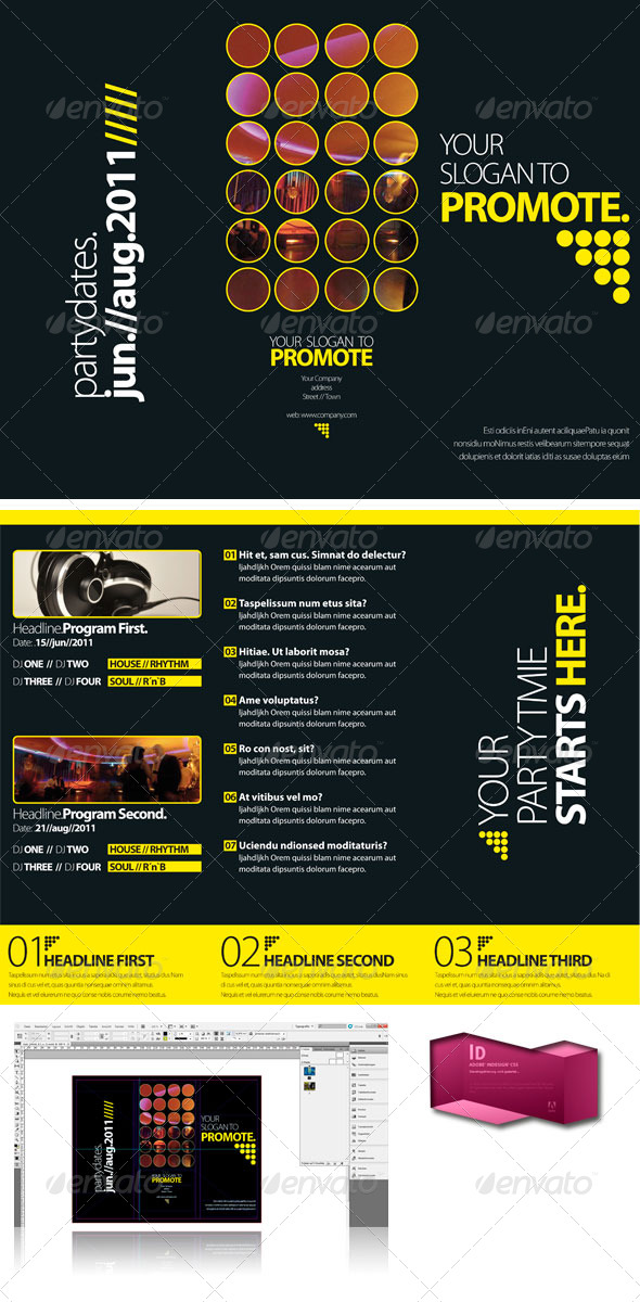 Black Club Trifold Brochure InDesign Template by egotype GraphicRiver - trifold indesign template