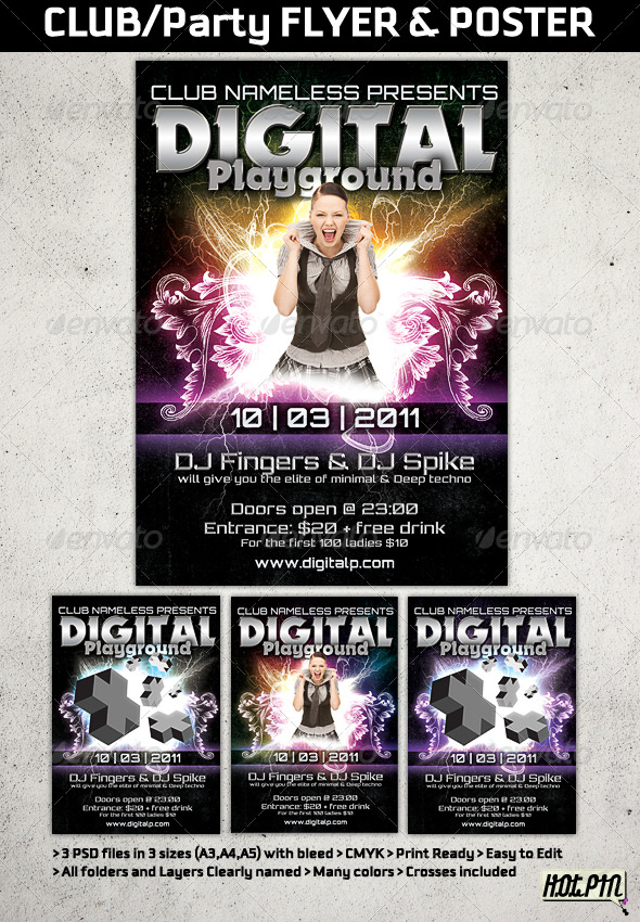 Modern Club or Party flyers And posters templates by Hotpin