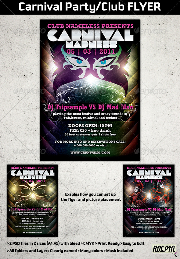 Carnival Party/Club Flyer Template by Hotpin GraphicRiver