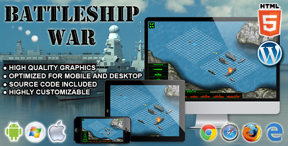 Battleship War - HTML5 Skill Game by codethislab CodeCanyon