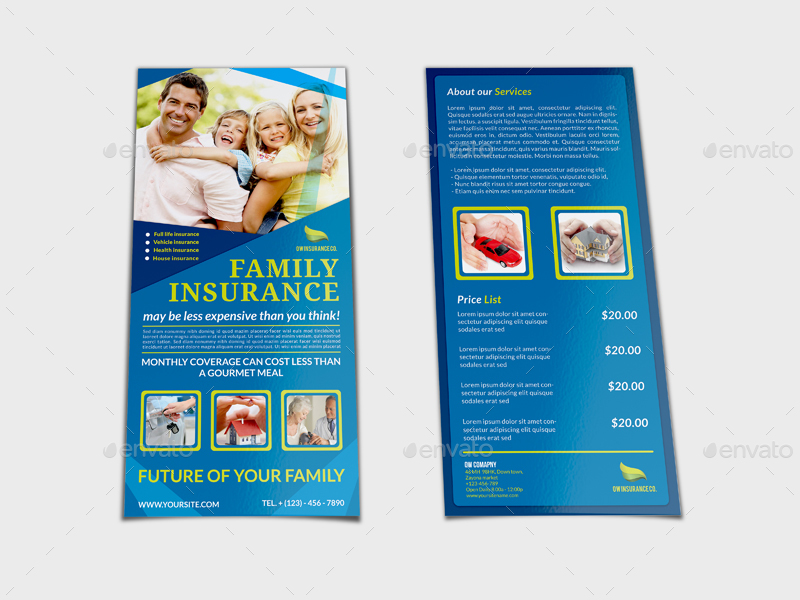 Insurance Flyer Template DL Size by OWPictures GraphicRiver - insurance flyer templates