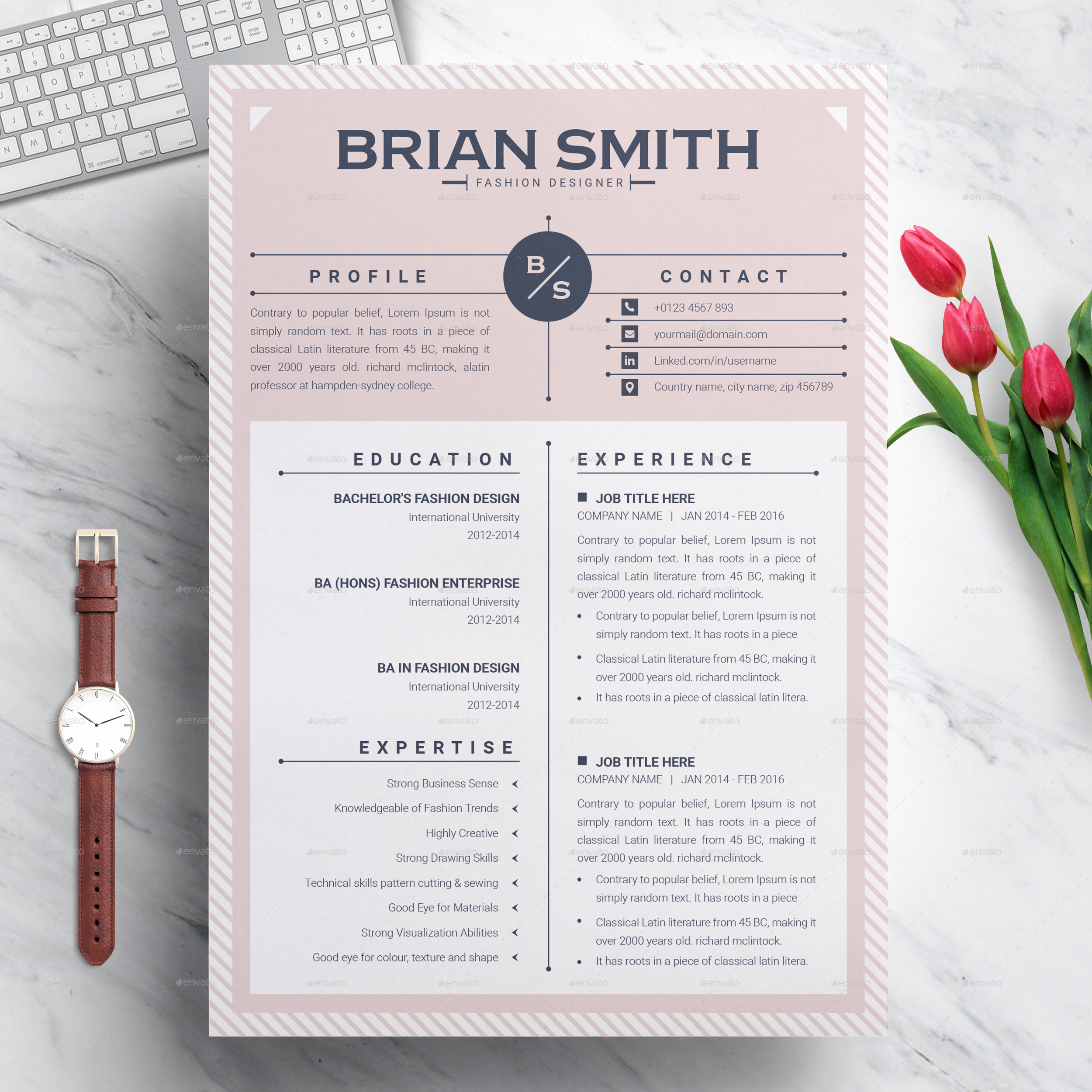 professional resume template word envato