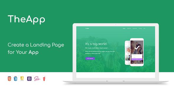 TheApp - Responsive Bootstrap Mobile App Landing Page Template by - app landing page template