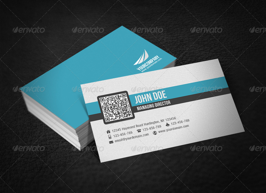 Simple Corporate QR Code Business Card by glenngoh GraphicRiver