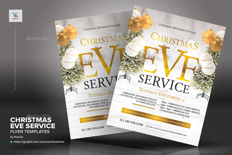 Christmas Eve Service Flyer Templates by kinzishots GraphicRiver