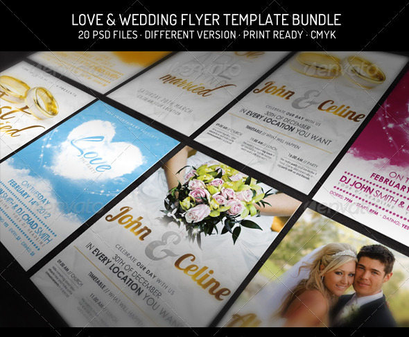 Bundle III - Love  Wedding - Flyer Template by Foos GraphicRiver - wedding flyer