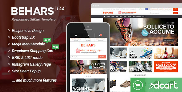 Behars - Responsive 3dCart Template by halothemes ThemeForest