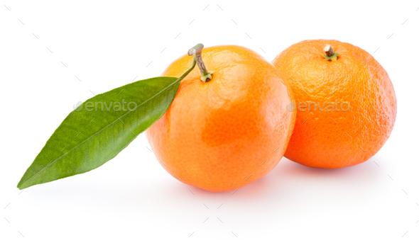 Two tangerines oranges fruit isolated on white background Stock