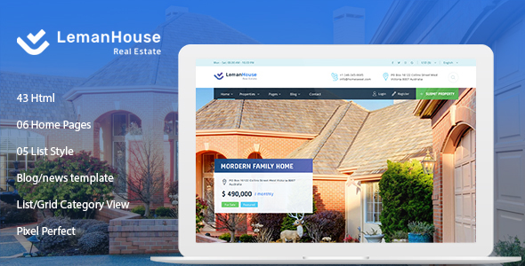 Lemanhouse - Real Estate HTML Template by htmlbeans ThemeForest