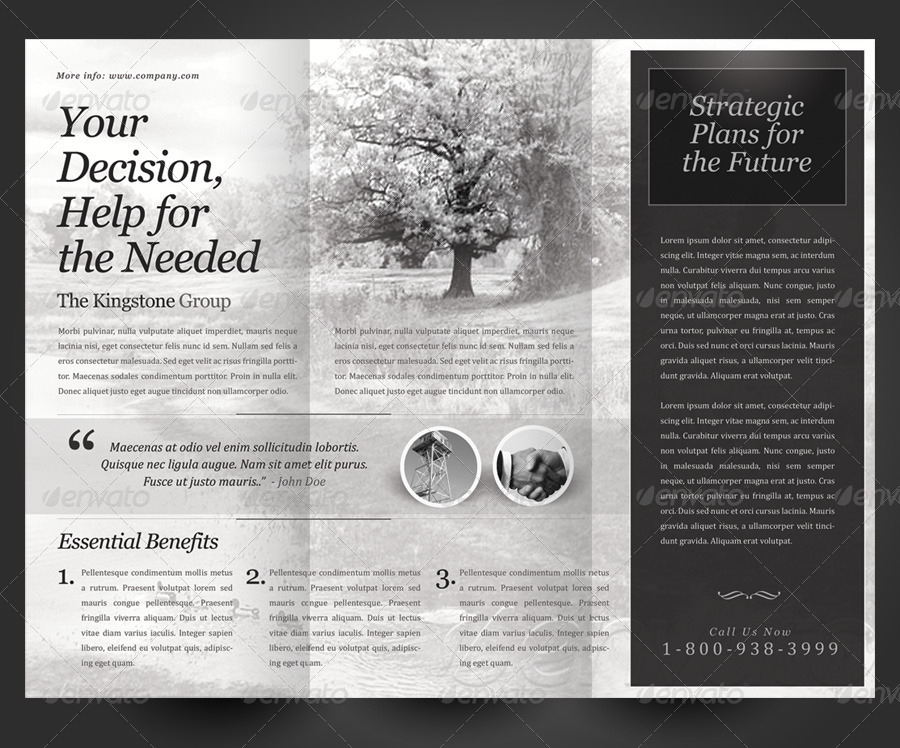 Black \ White Theme Trifold Brochure Template by kinzi21 - black and white flyer template