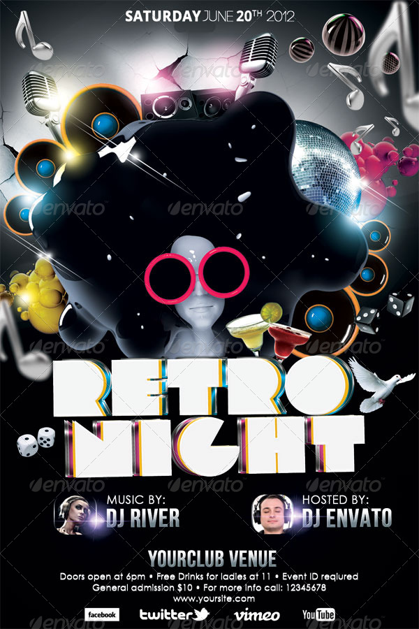 Retro Night Party Flyer Template by hermz GraphicRiver - retro flyer template