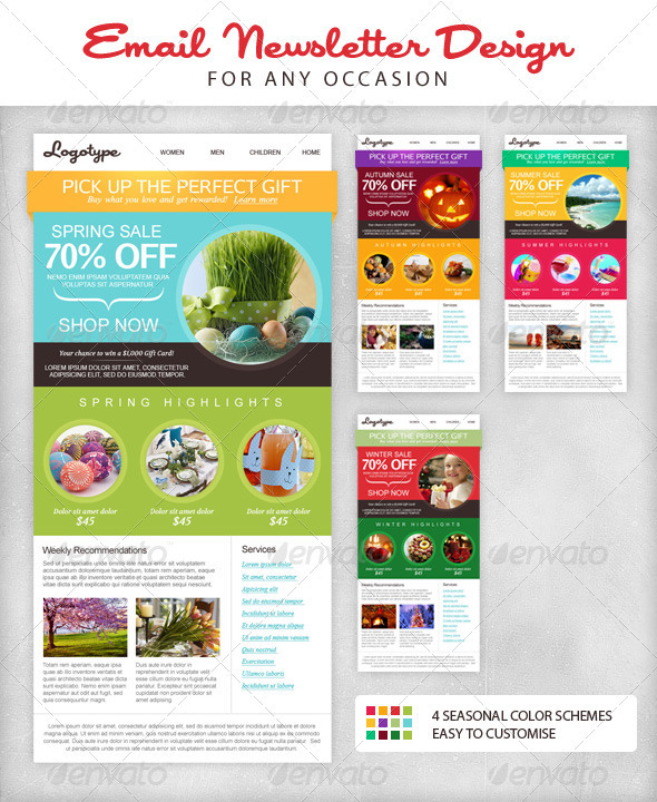 Seasonal Email Newsletter Template by mariarti GraphicRiver