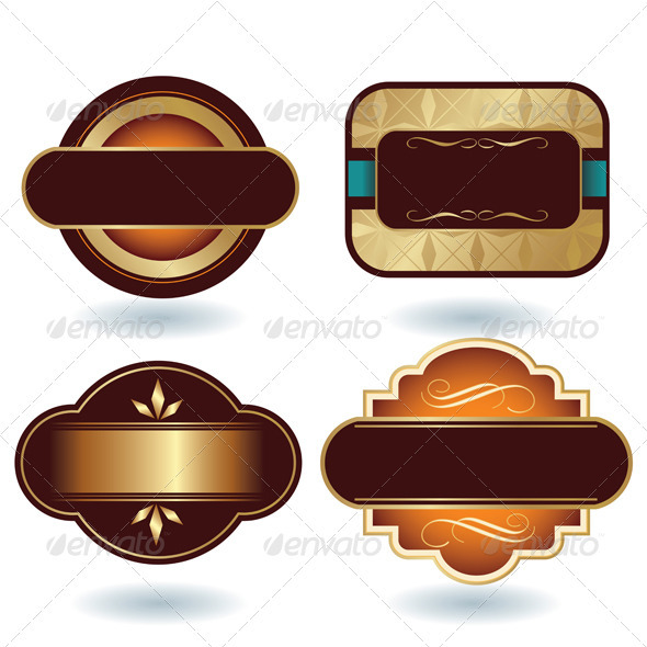 Brown Gold Labels Template by h4nk GraphicRiver