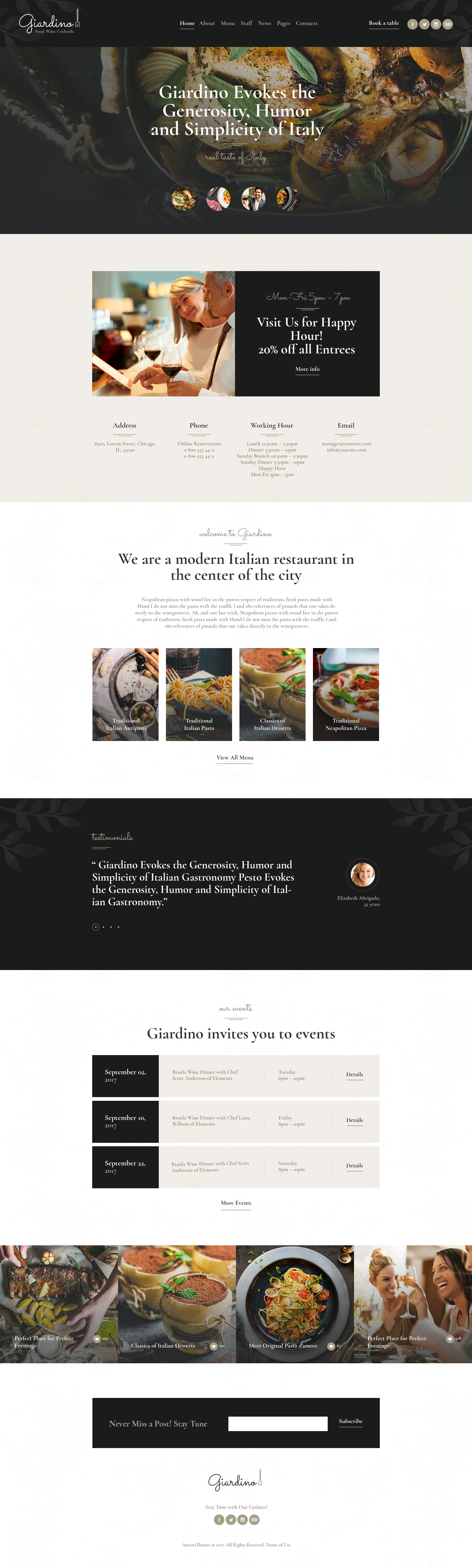 Giardino An Italian Restaurant Cafe Wordpress Theme By Axiomthemes