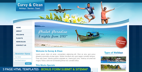Curvy and Clean Travel Template - HTML by dtbaker ThemeForest
