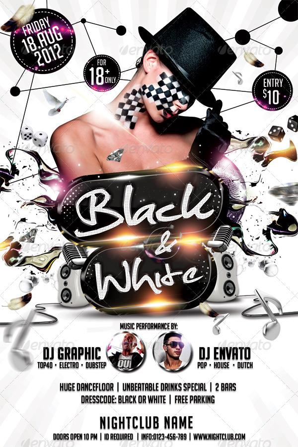 Black  White Affair Flyer Template by hermz GraphicRiver - black and white flyer template