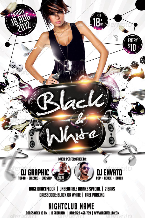 Black \ White Affair Flyer Template by hermz GraphicRiver - black and white flyer template