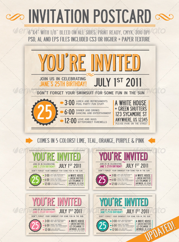 Invitation Postcard by everytuesday GraphicRiver - post card invitations