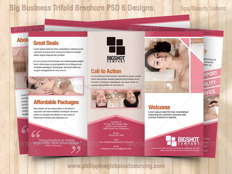 A4 Trifold Brochure Template PSD 6 Variations #1 by - spa brochure template