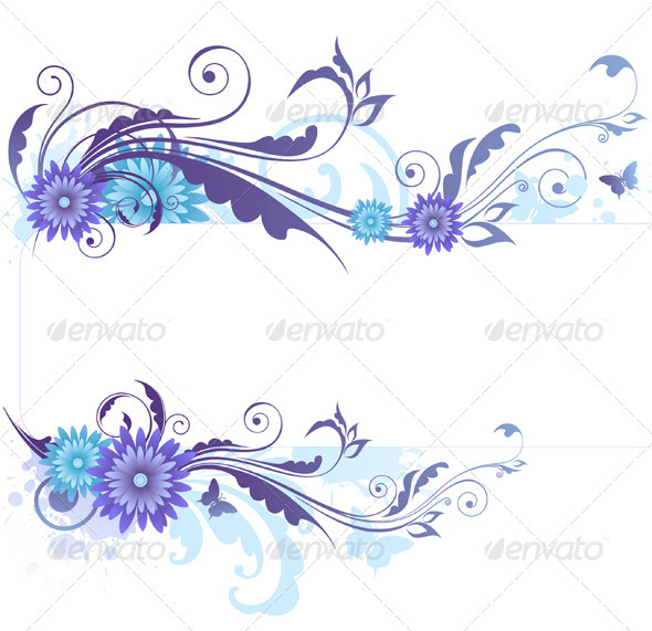Floral Background with Blue Flowers by Artness GraphicRiver - blue flower backgrounds
