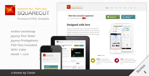 Squarecut Responsive Landing Page template by tansh ThemeForest