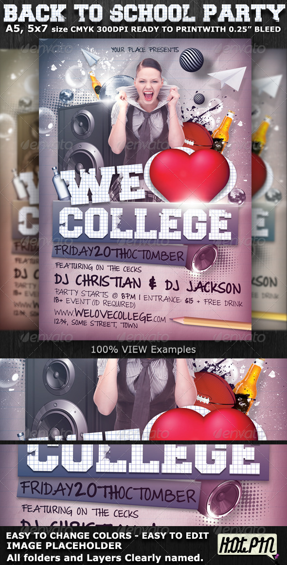 We Love College Party Flyer Template by Hotpin GraphicRiver